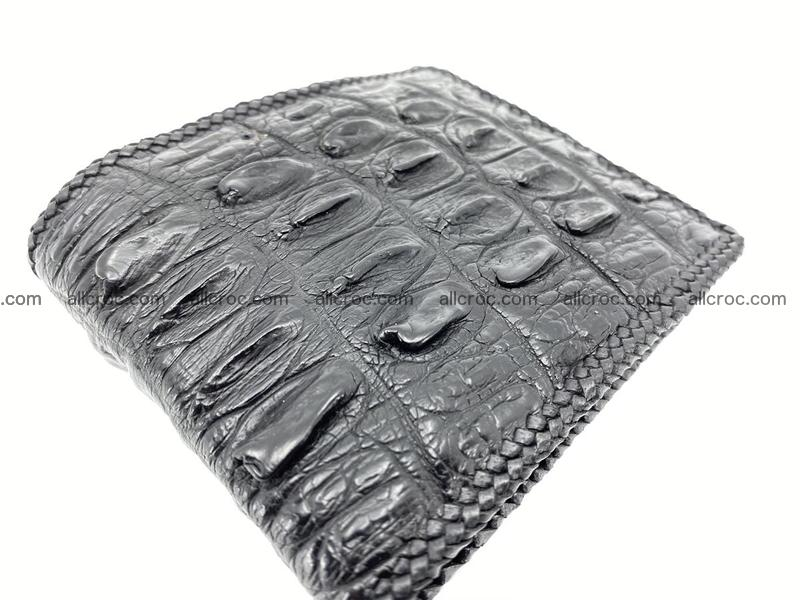 Crocodile skin bifold wallet tail part with braided trim 904