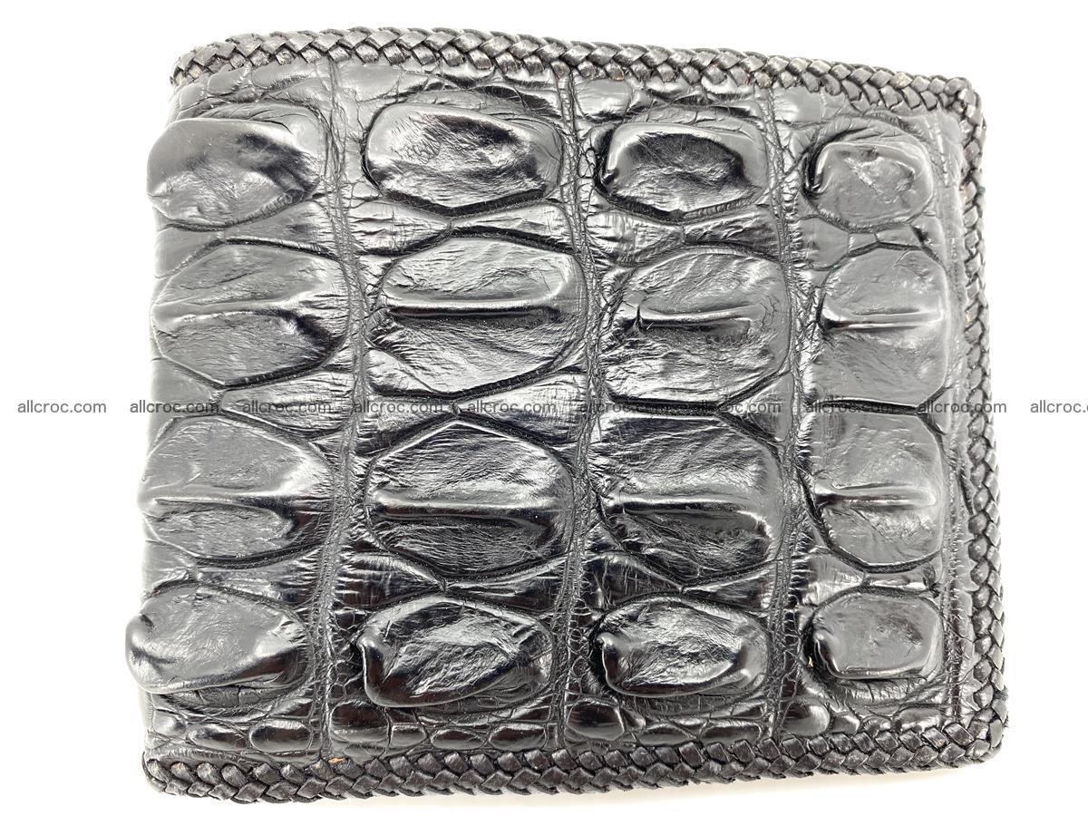 Crocodile skin bifold wallet tail part with braided trim 908 Foto 0