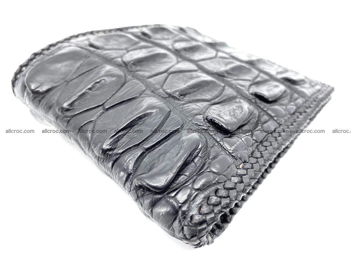Crocodile skin bifold wallet tail part with braided trim 908 Foto 1
