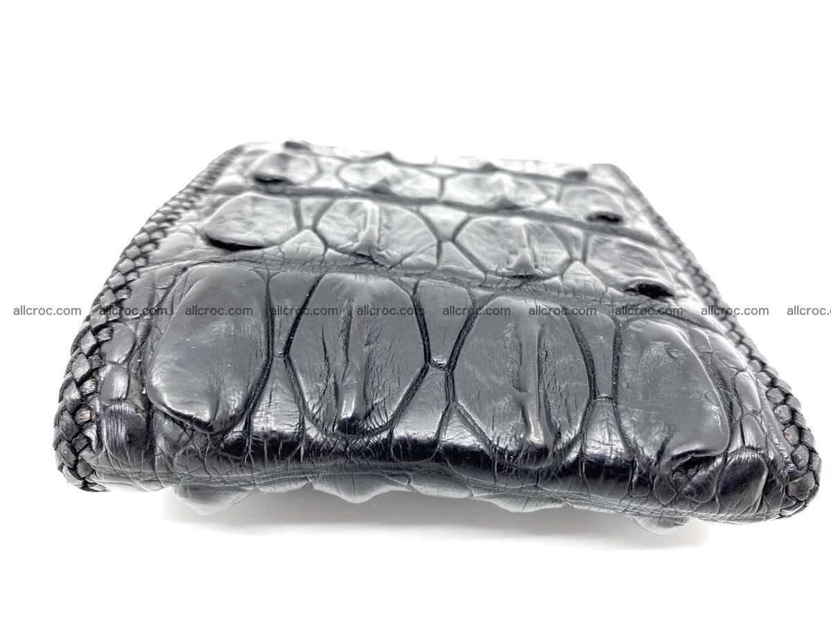 Crocodile skin bifold wallet tail part with braided trim 908 Foto 2