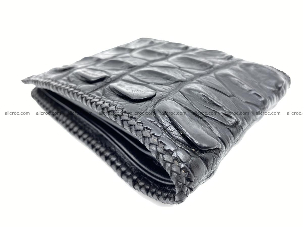 Crocodile skin bifold wallet tail part with braided trim 908 Foto 3