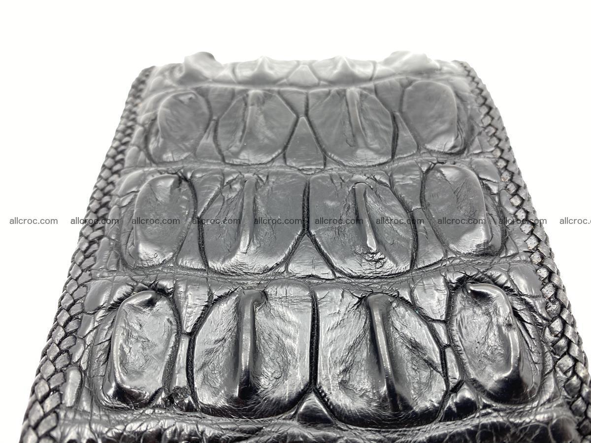 Crocodile skin bifold wallet tail part with braided trim 908 Foto 13