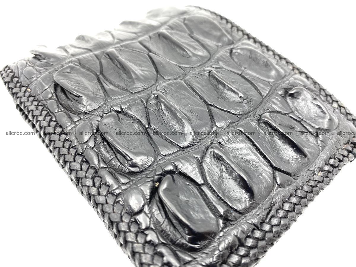 Crocodile skin bifold wallet tail part with braided trim 908 Foto 4