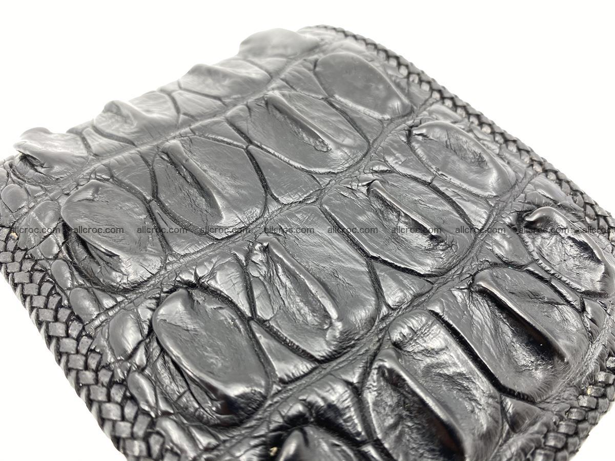 Crocodile skin bifold wallet tail part with braided trim 908 Foto 12