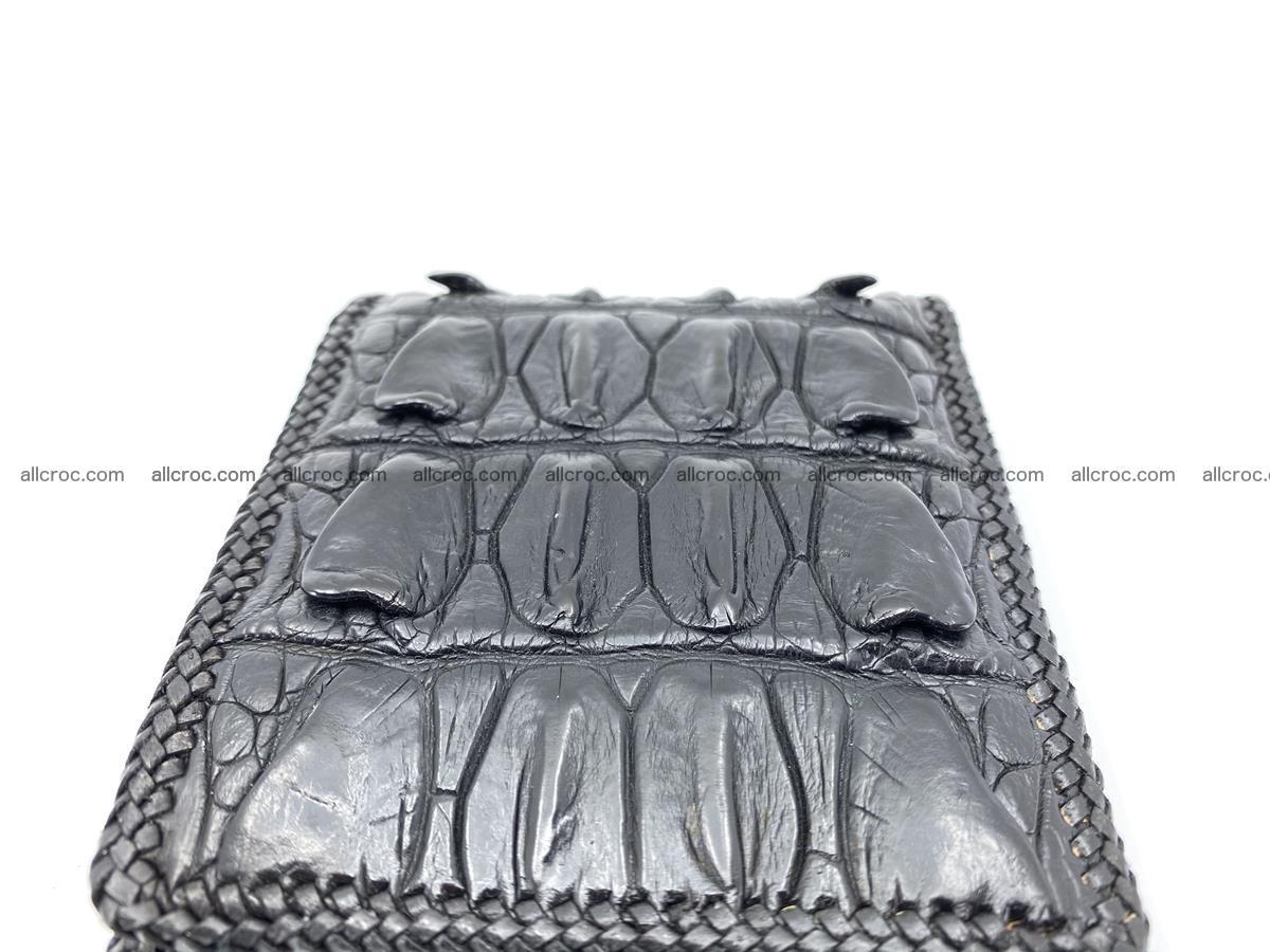 Crocodile skin bifold wallet tail part with braided trim 908 Foto 16