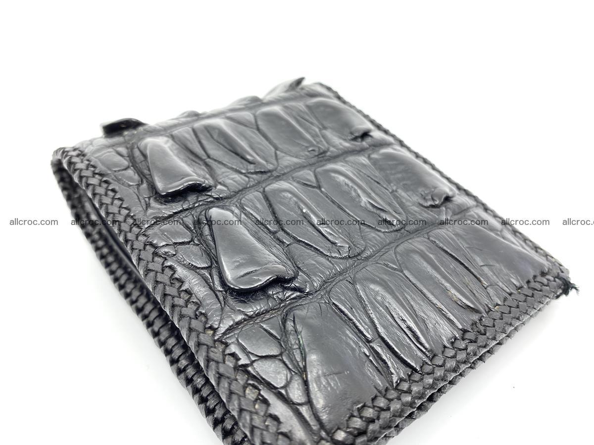 Crocodile skin bifold wallet tail part with braided trim 908 Foto 14