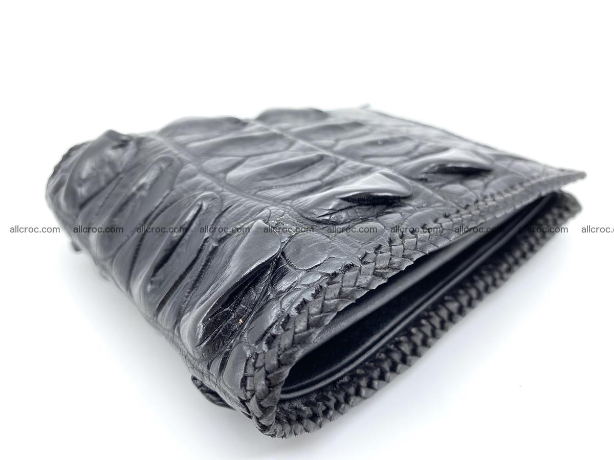 Crocodile skin bifold wallet tail part with braided trim 908 Foto 18