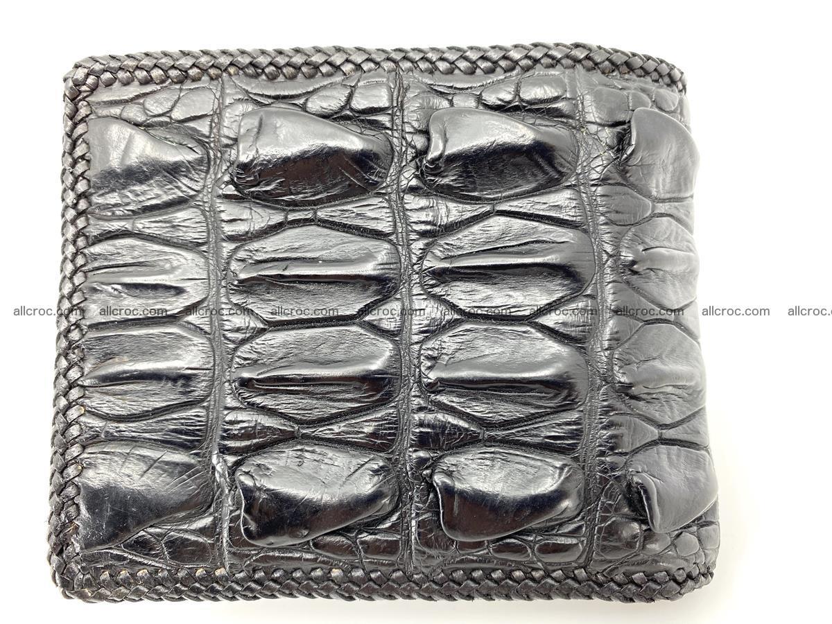 Crocodile skin bifold wallet tail part with braided trim 908 Foto 6