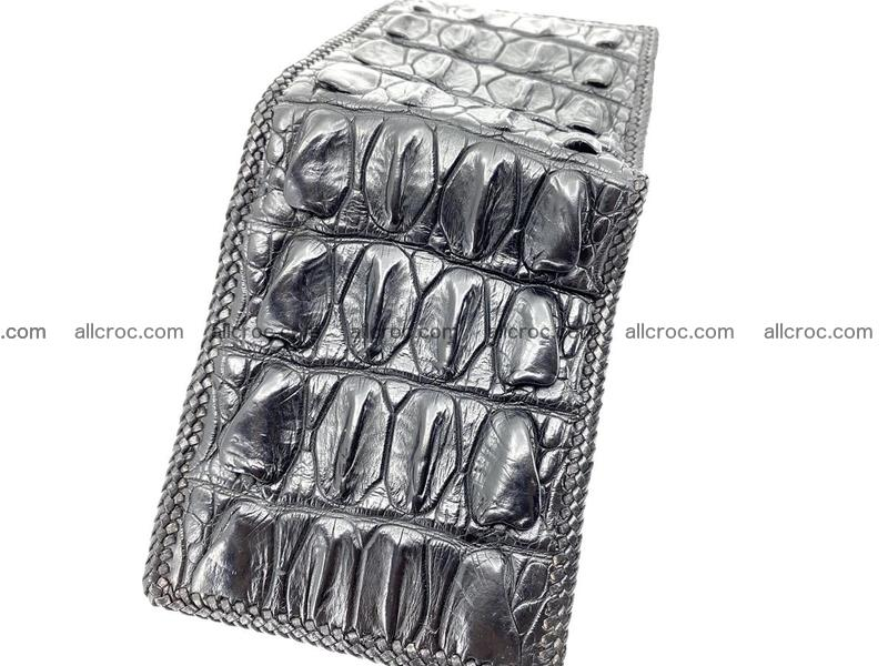Crocodile skin bifold wallet tail part with braided trim 908