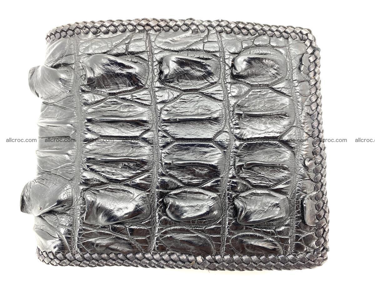 Crocodile skin bifold wallet tail part with braided trim 909 Foto 0