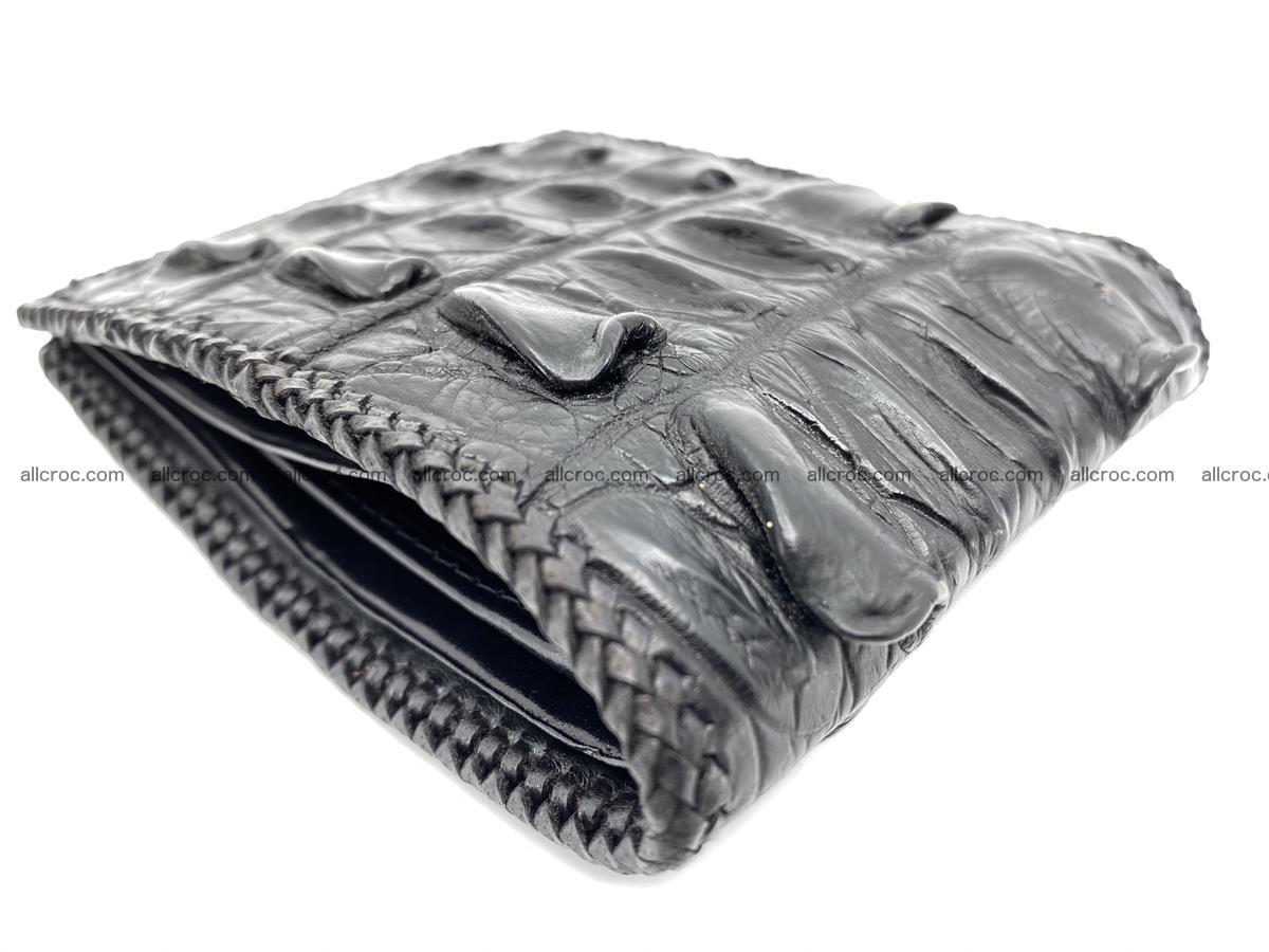Crocodile skin bifold wallet tail part with braided trim 909 Foto 3