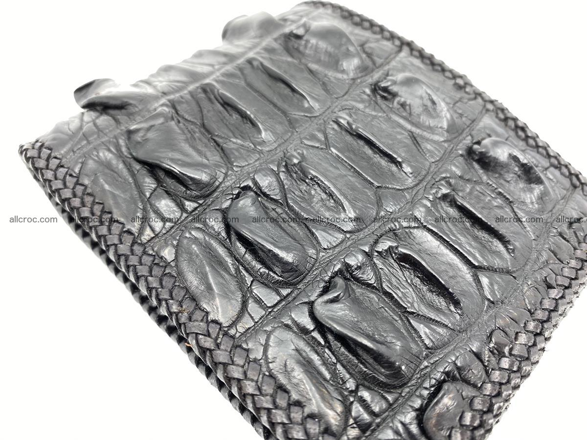 Crocodile skin bifold wallet tail part with braided trim 909 Foto 10