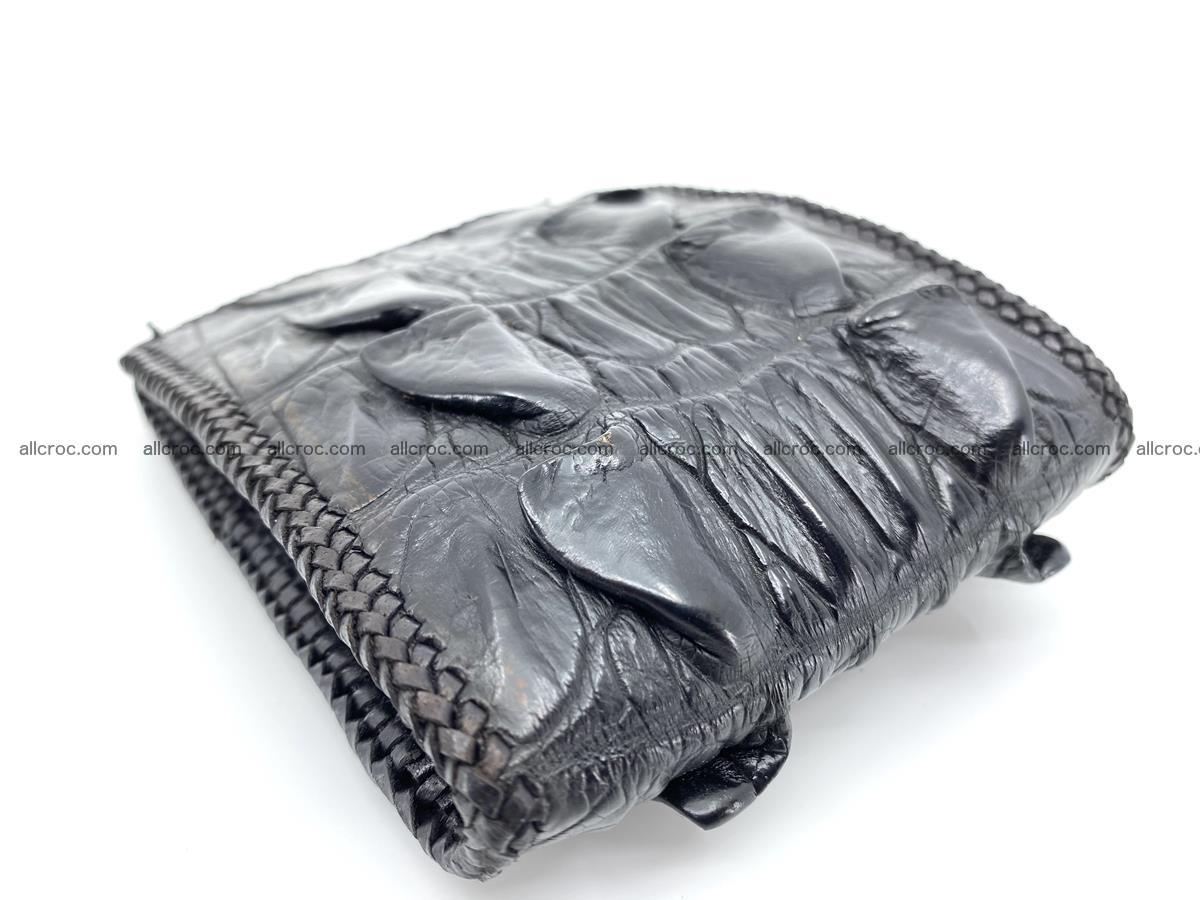 Crocodile skin bifold wallet tail part with braided trim 909 Foto 16