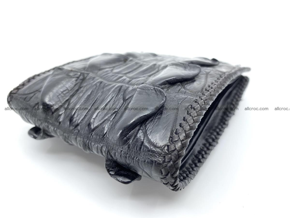 Crocodile skin bifold wallet tail part with braided trim 909 Foto 11