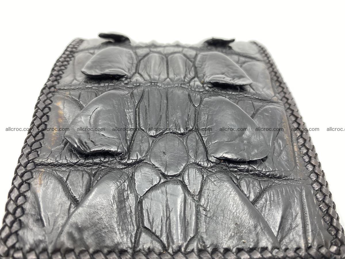 Crocodile skin bifold wallet tail part with braided trim 909 Foto 13