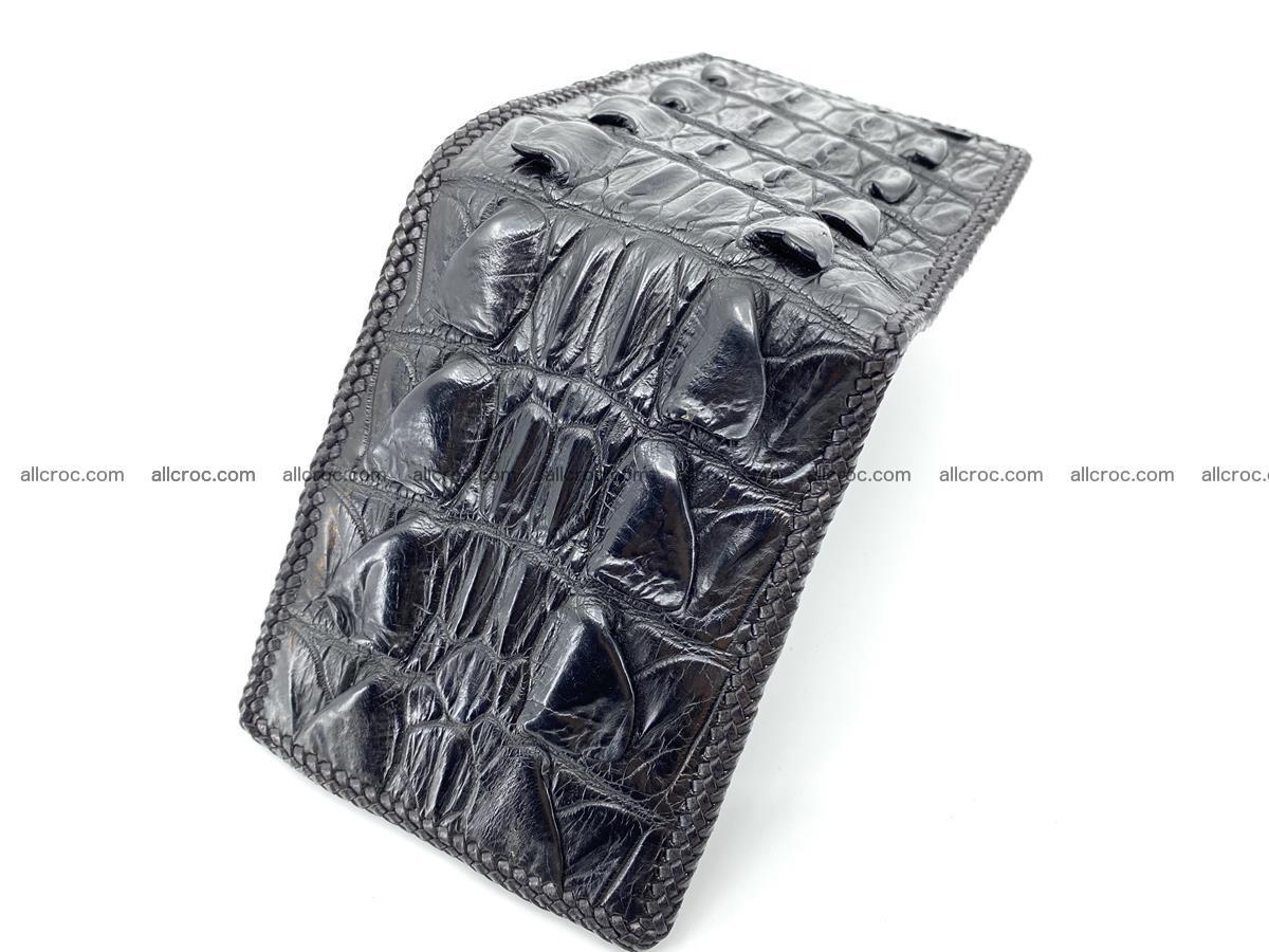 Crocodile skin bifold wallet tail part with braided trim 909 Foto 12
