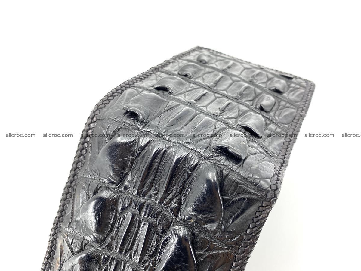 Crocodile skin bifold wallet tail part with braided trim 909 Foto 9