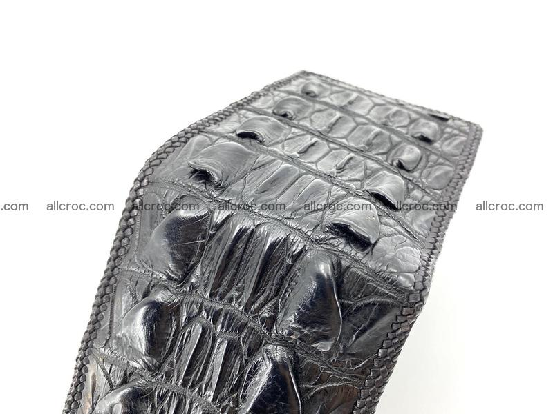 Crocodile skin bifold wallet tail part with braided trim 909