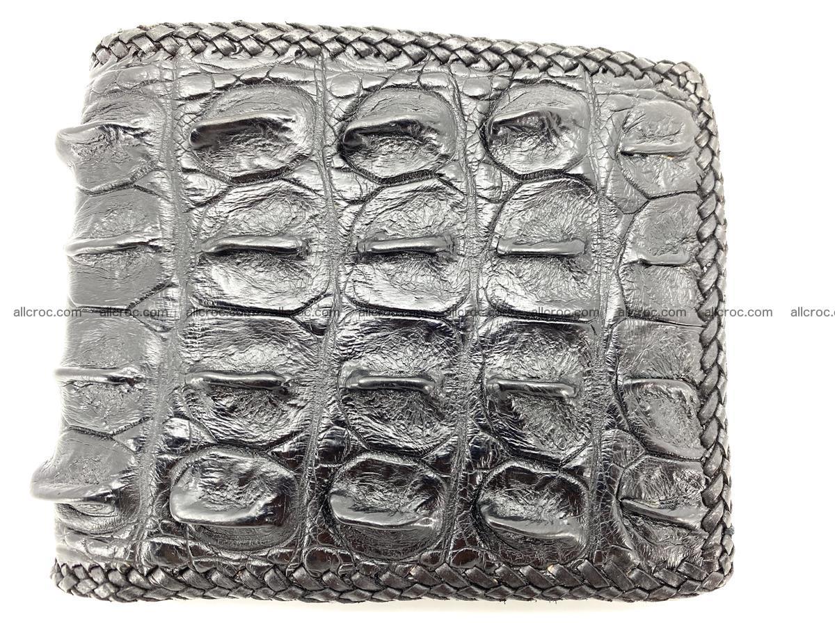 Crocodile skin bifold wallet tail part with braided trim 910 Foto 0
