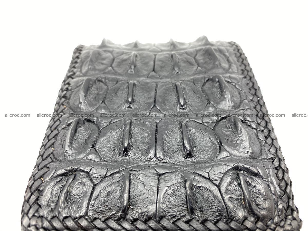 Crocodile skin bifold wallet tail part with braided trim 910 Foto 7