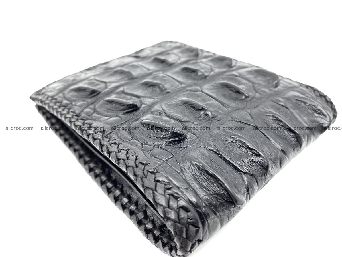 Crocodile skin bifold wallet tail part with braided trim 910 Foto 3