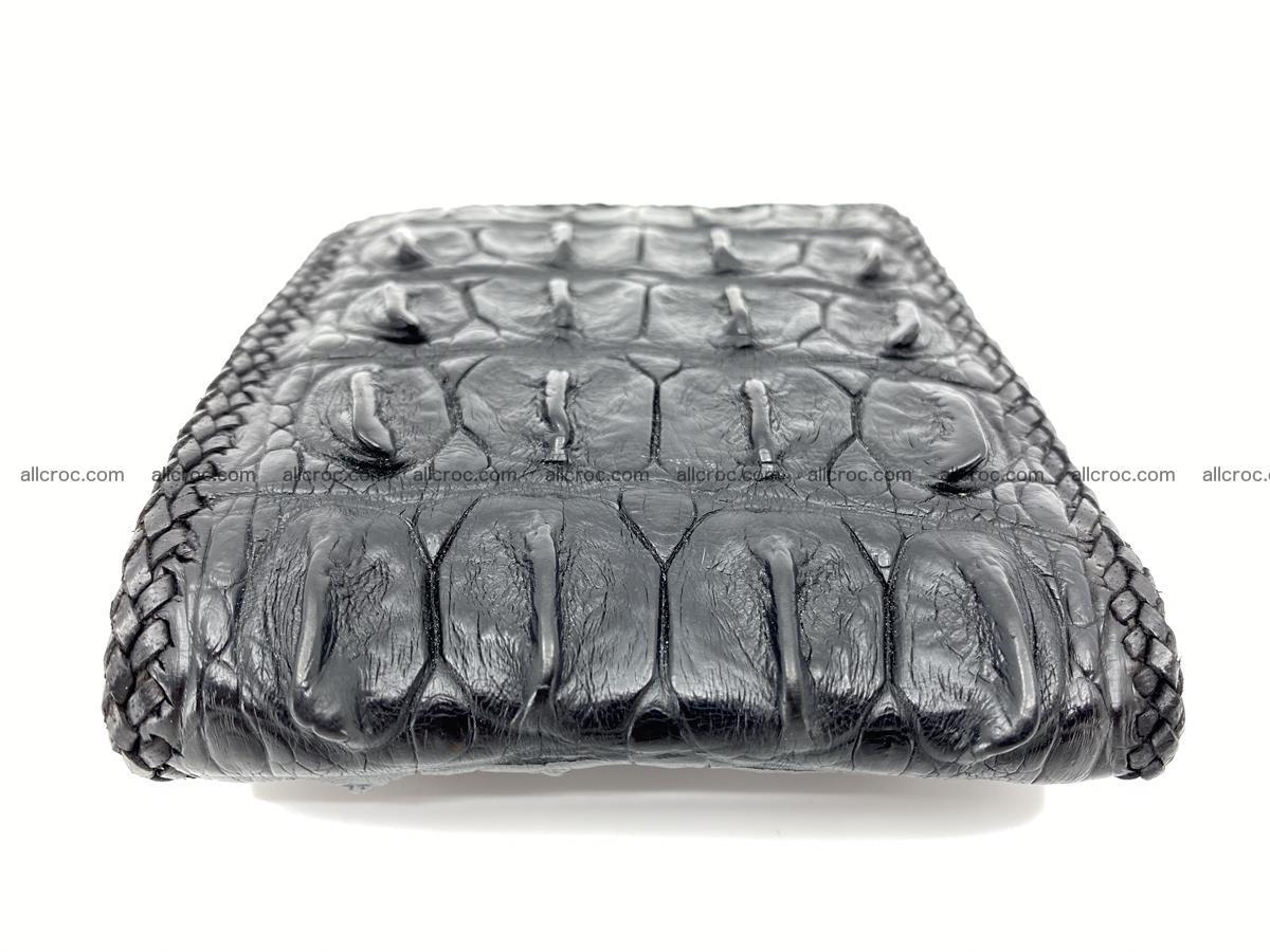 Crocodile skin bifold wallet tail part with braided trim 910 Foto 4