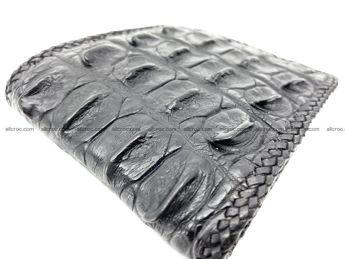 Crocodile skin bifold wallet tail part with braided trim 910 Foto 5