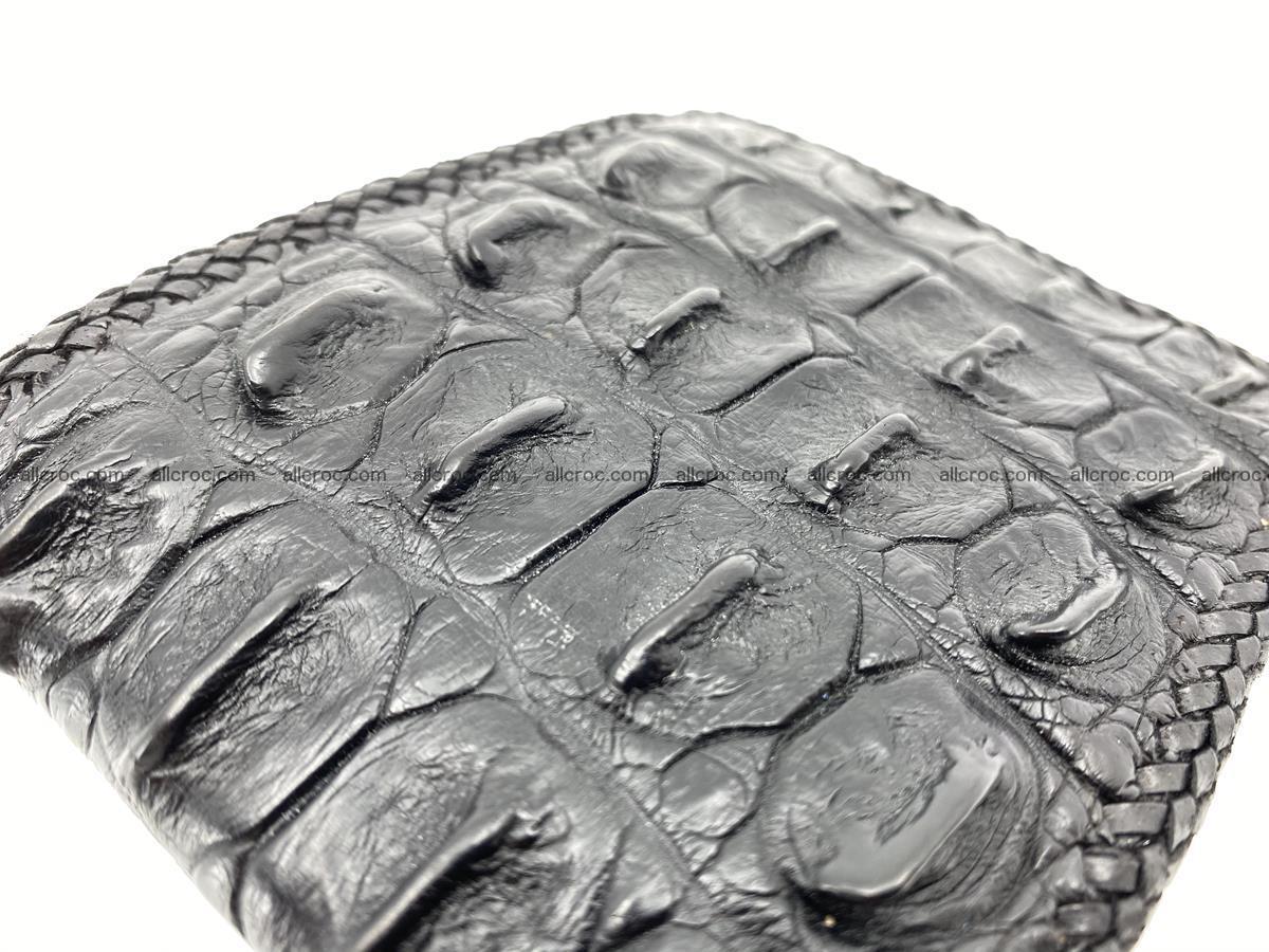 Crocodile skin bifold wallet tail part with braided trim 910 Foto 8