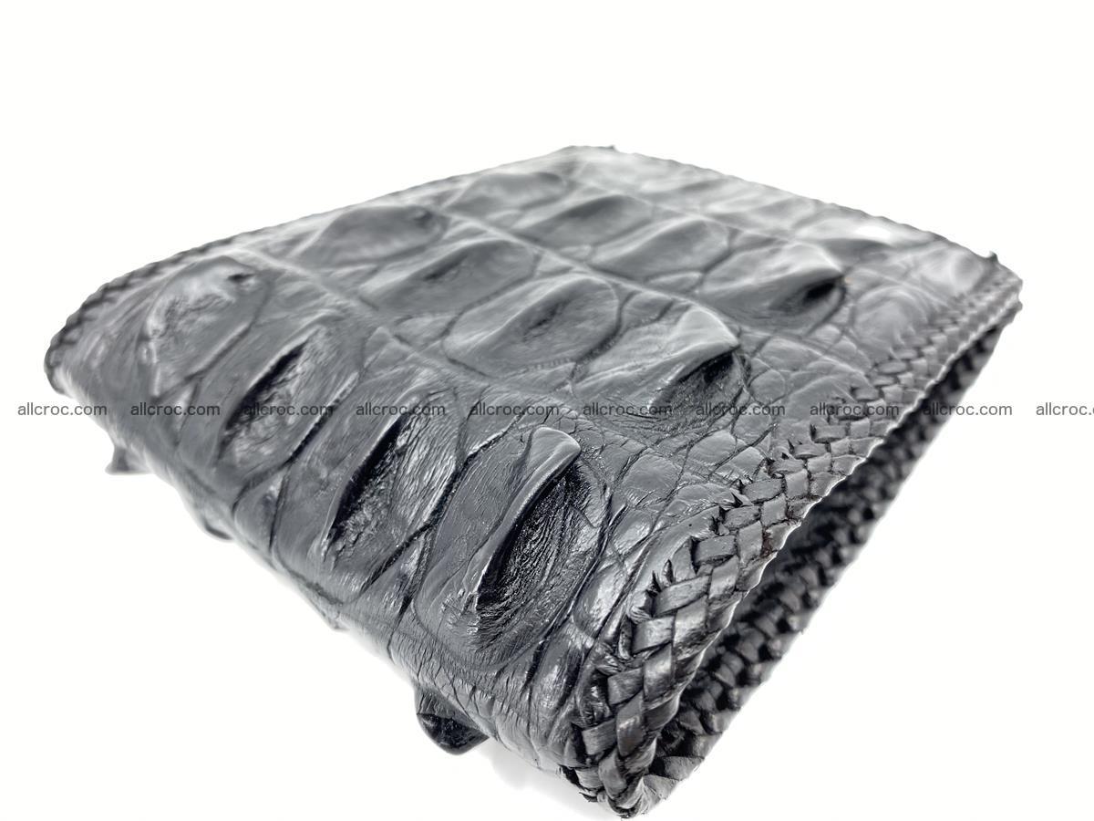 Crocodile skin bifold wallet tail part with braided trim 910 Foto 15
