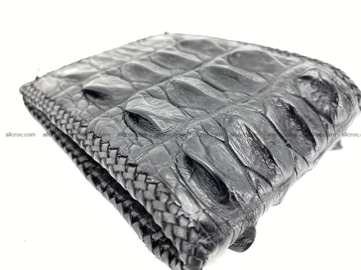 Crocodile skin bifold wallet tail part with braided trim 910 Foto 16