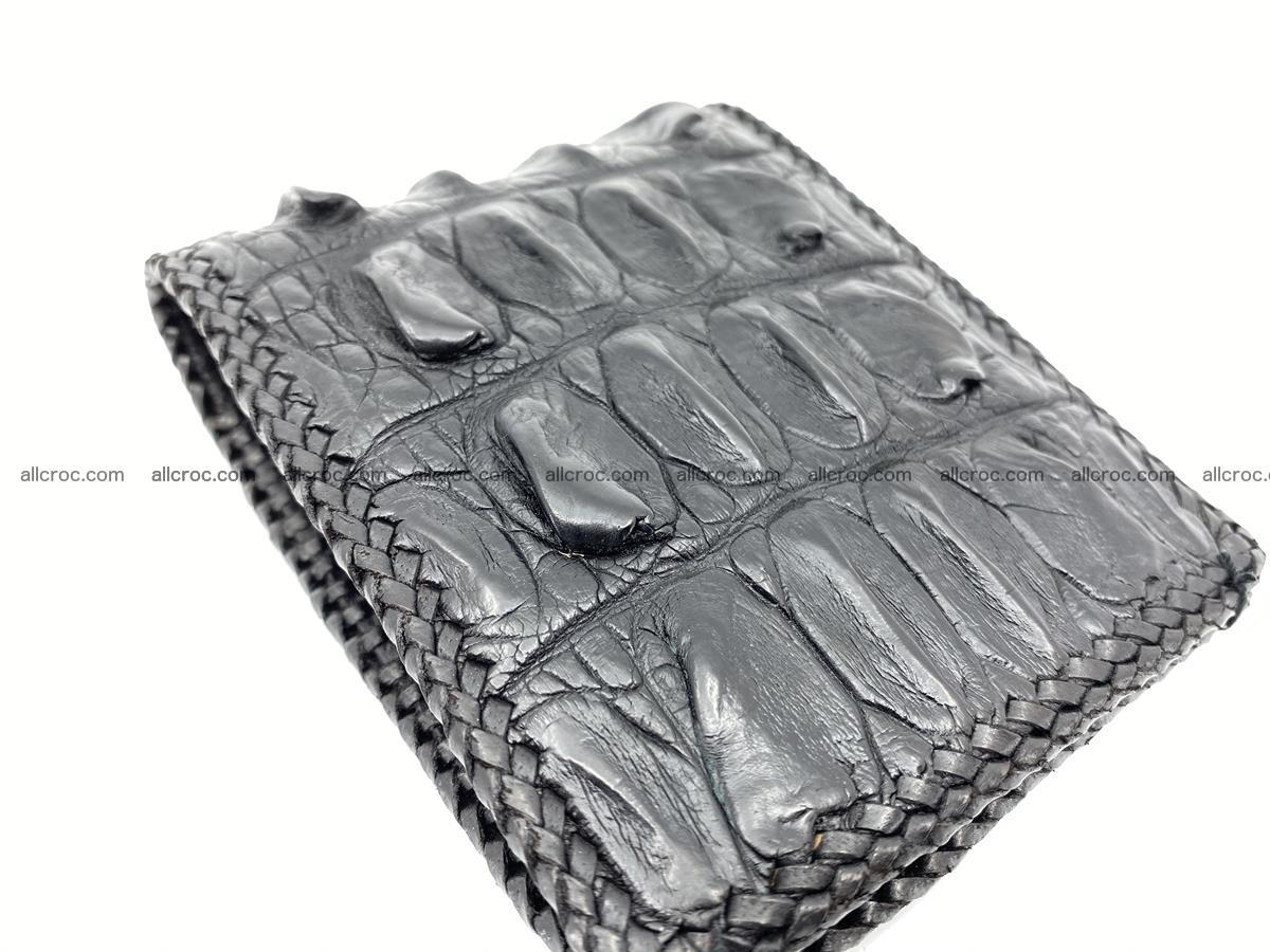 Crocodile skin bifold wallet tail part with braided trim 910 Foto 14