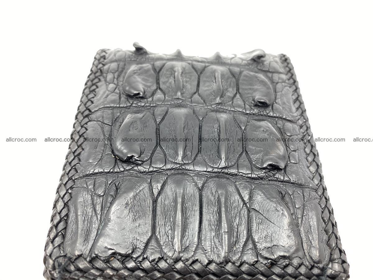 Crocodile skin bifold wallet tail part with braided trim 910 Foto 12