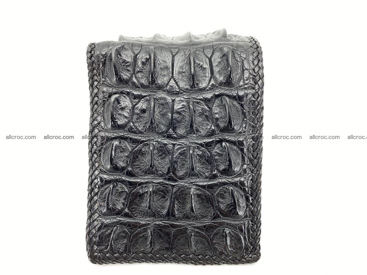 Crocodile skin bifold wallet tail part with braided trim 910 Foto 10