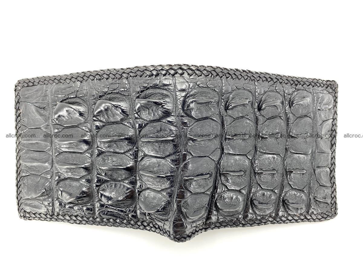 Crocodile skin bifold wallet tail part with braided trim 910 Foto 2
