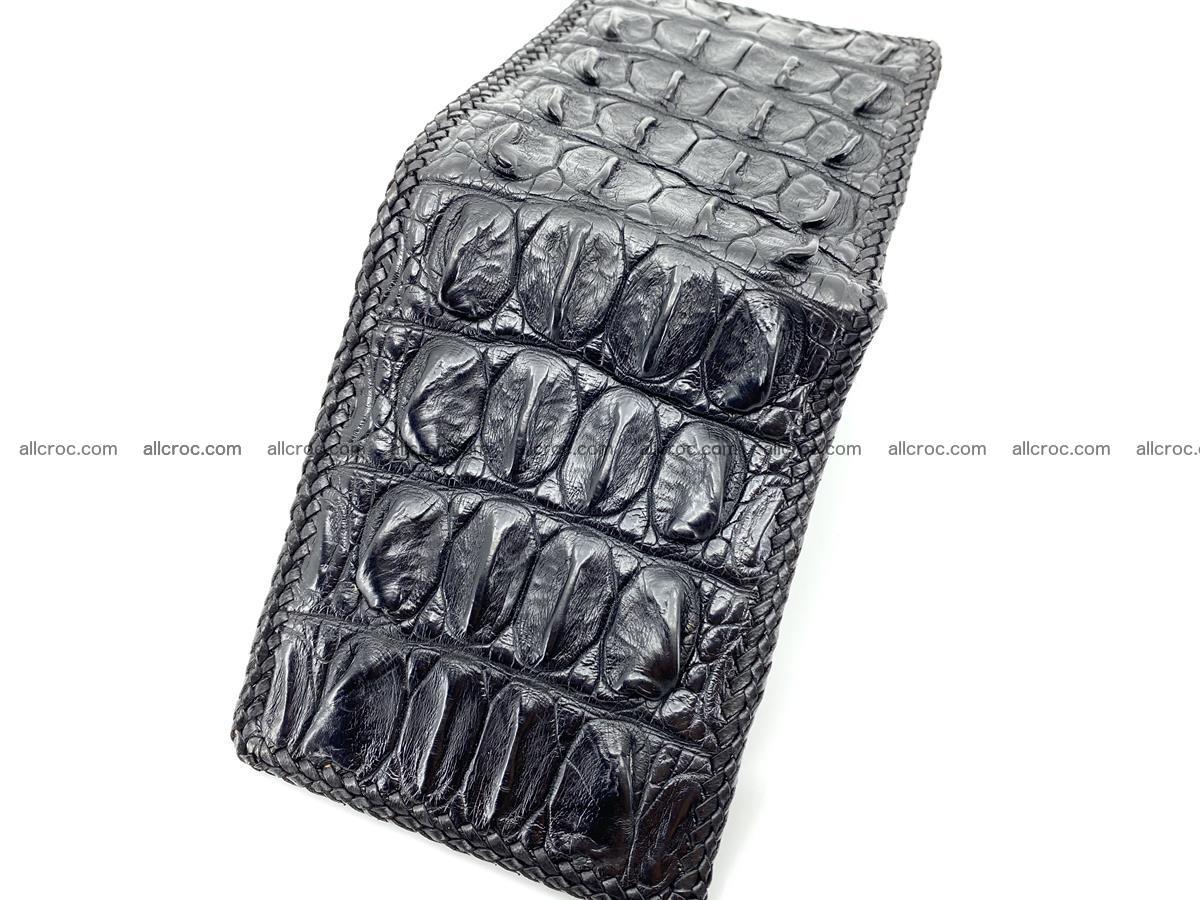 Crocodile skin bifold wallet tail part with braided trim 910 Foto 1