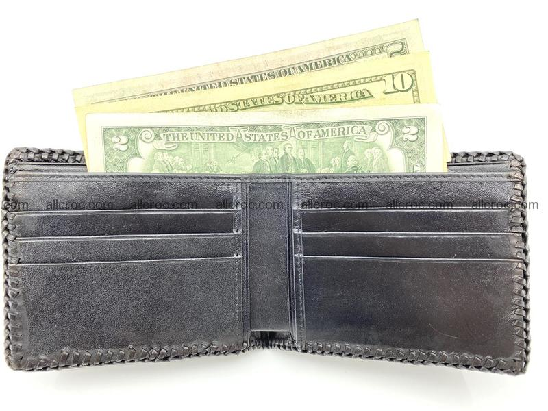 Crocodile skin bifold wallet tail part with braided trim 910