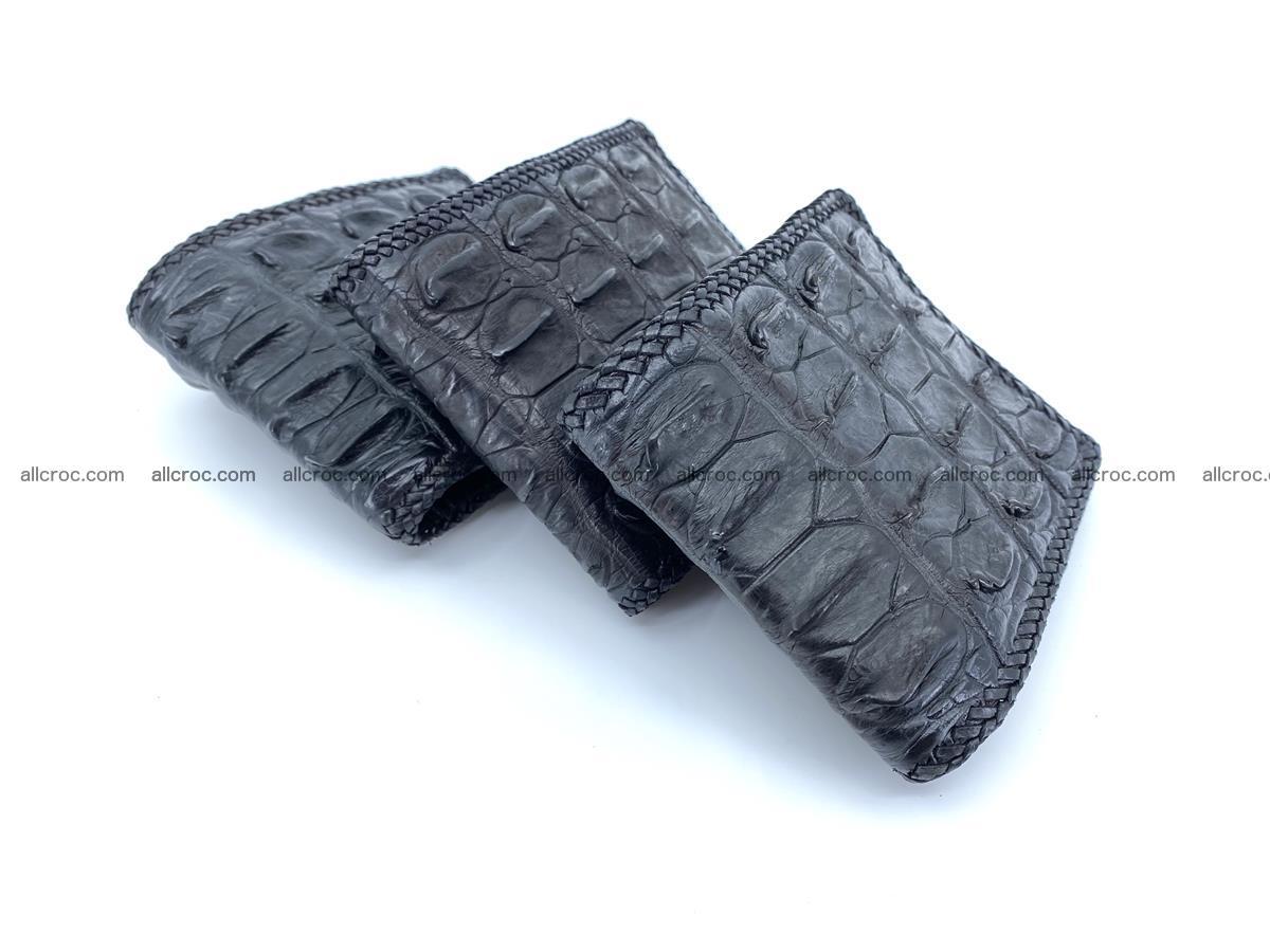 Crocodile skin bifold wallet tail part with braided trim 910 Foto 19
