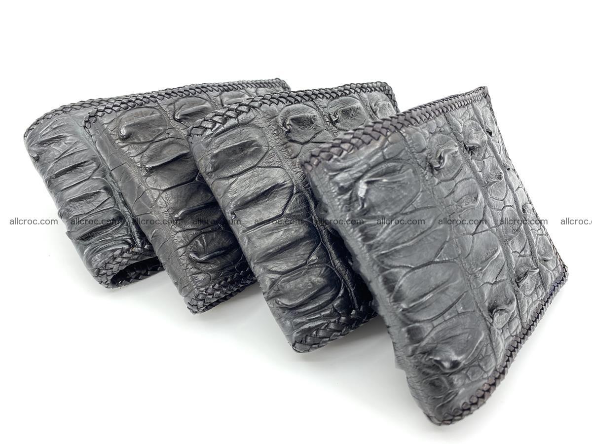 Crocodile skin bifold wallet tail part with braided trim 910 Foto 18