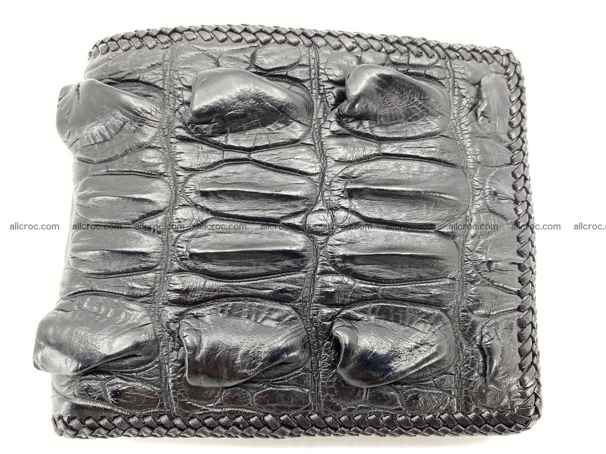 Crocodile skin bifold wallet tail part with braided trim 905 Foto 0