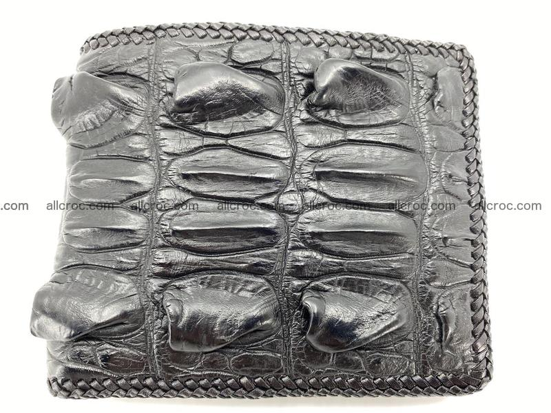 Crocodile skin bifold wallet tail part with braided trim 905