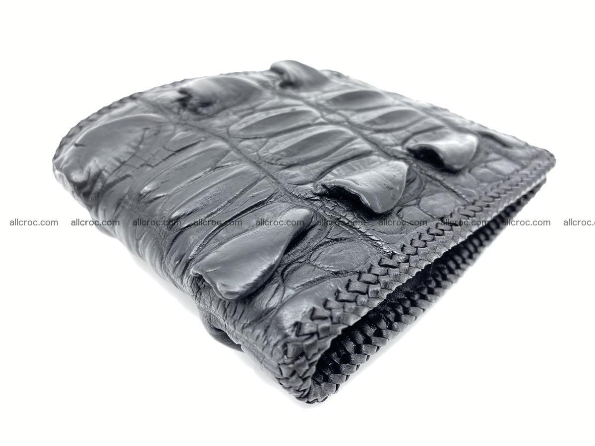 Crocodile skin bifold wallet tail part with braided trim 905 Foto 5