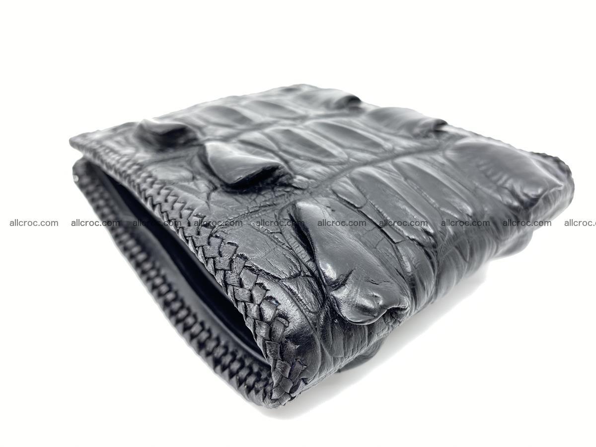 Crocodile skin bifold wallet tail part with braided trim 905 Foto 11