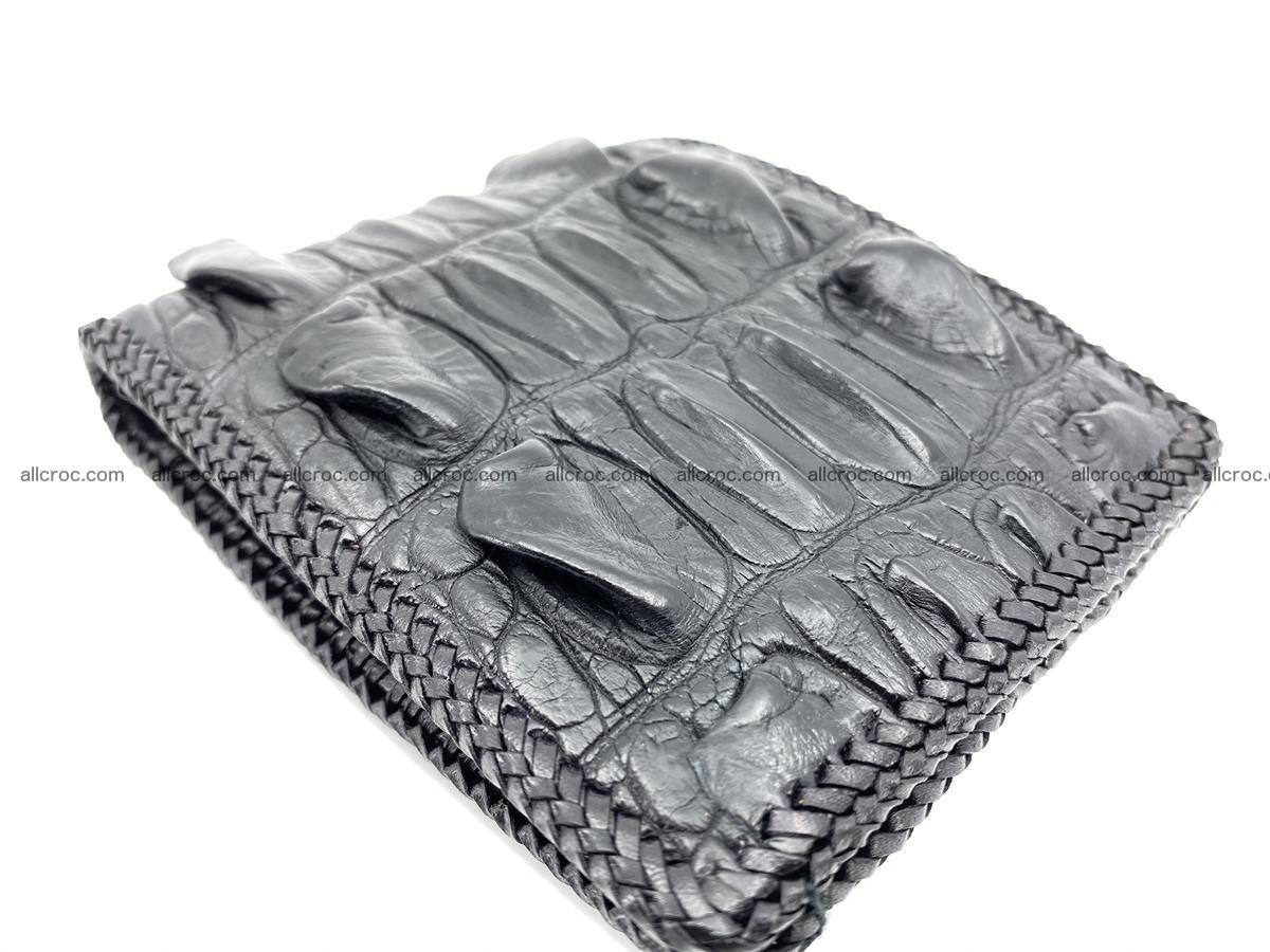 Crocodile skin bifold wallet tail part with braided trim 905 Foto 18