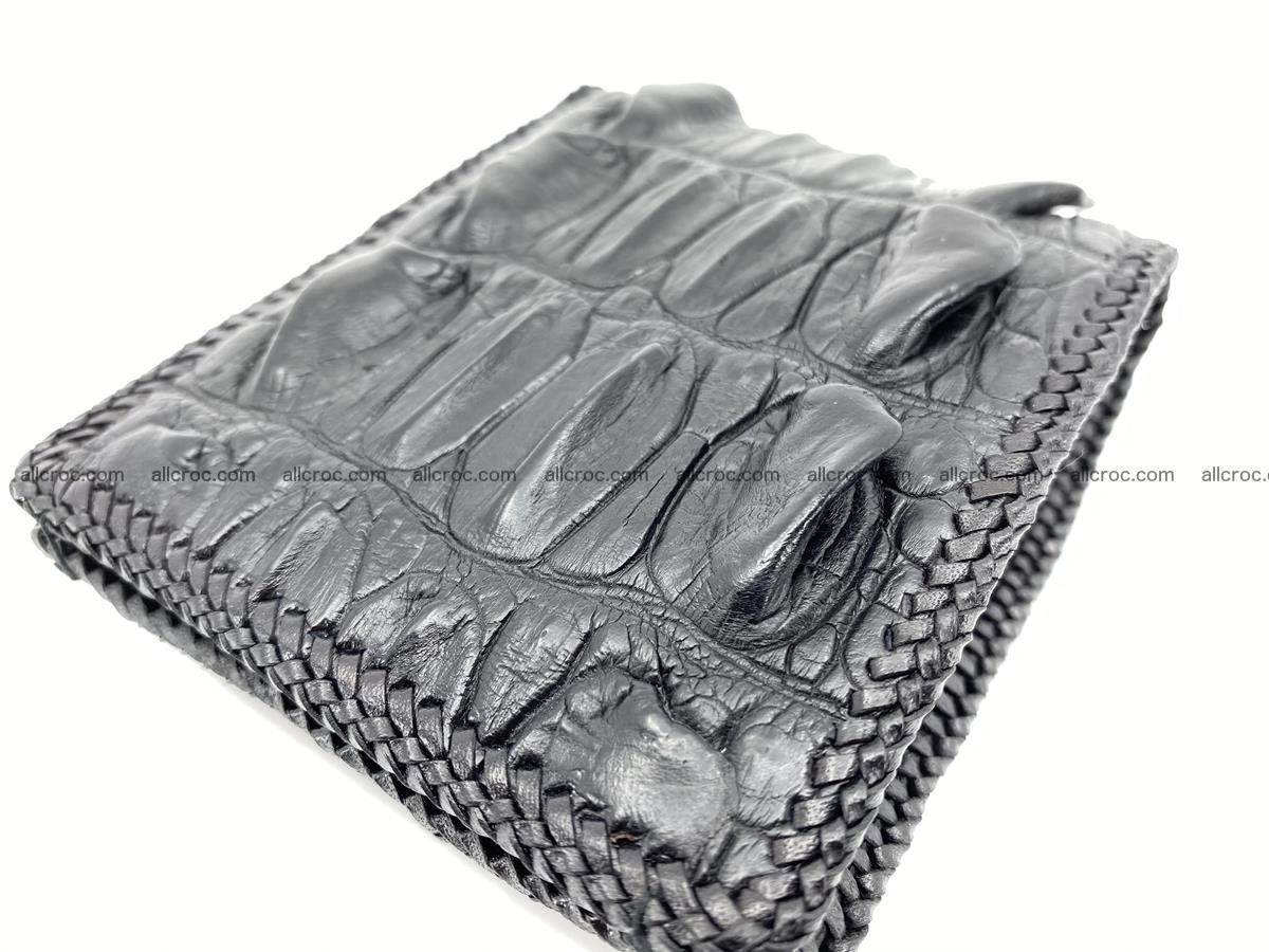 Crocodile skin bifold wallet tail part with braided trim 905 Foto 16