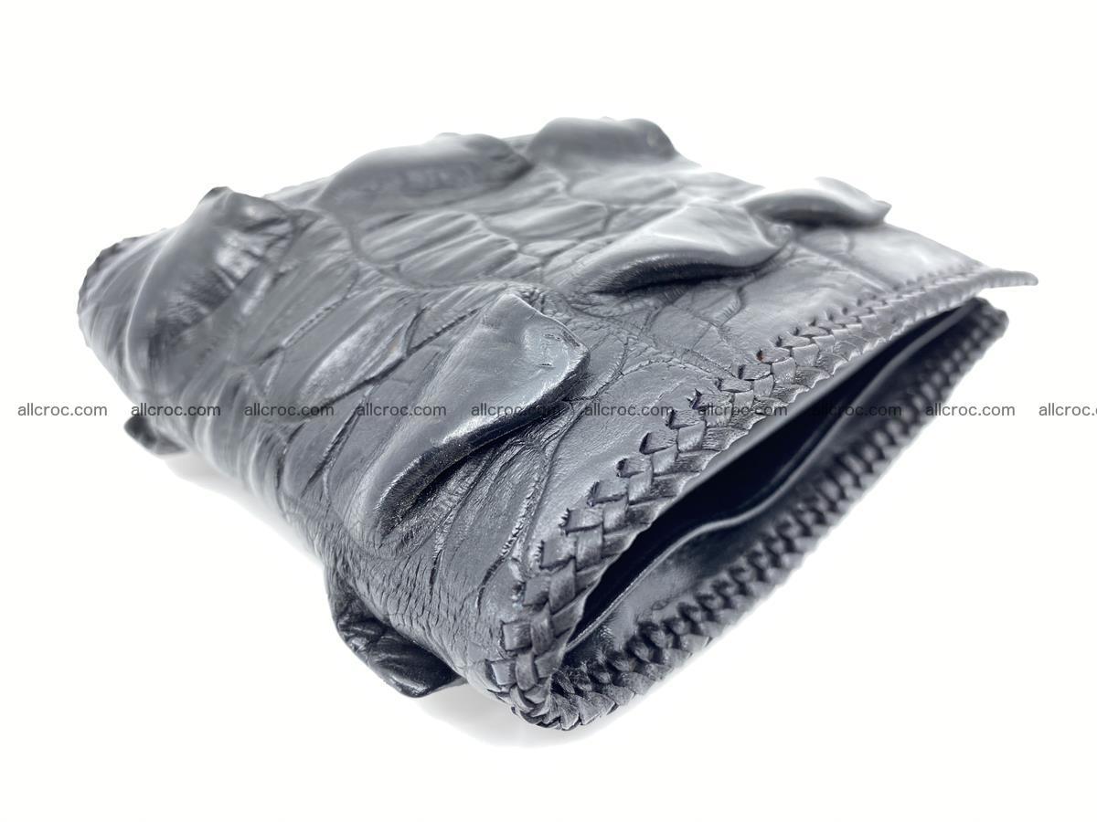 Crocodile skin bifold wallet tail part with braided trim 905 Foto 15