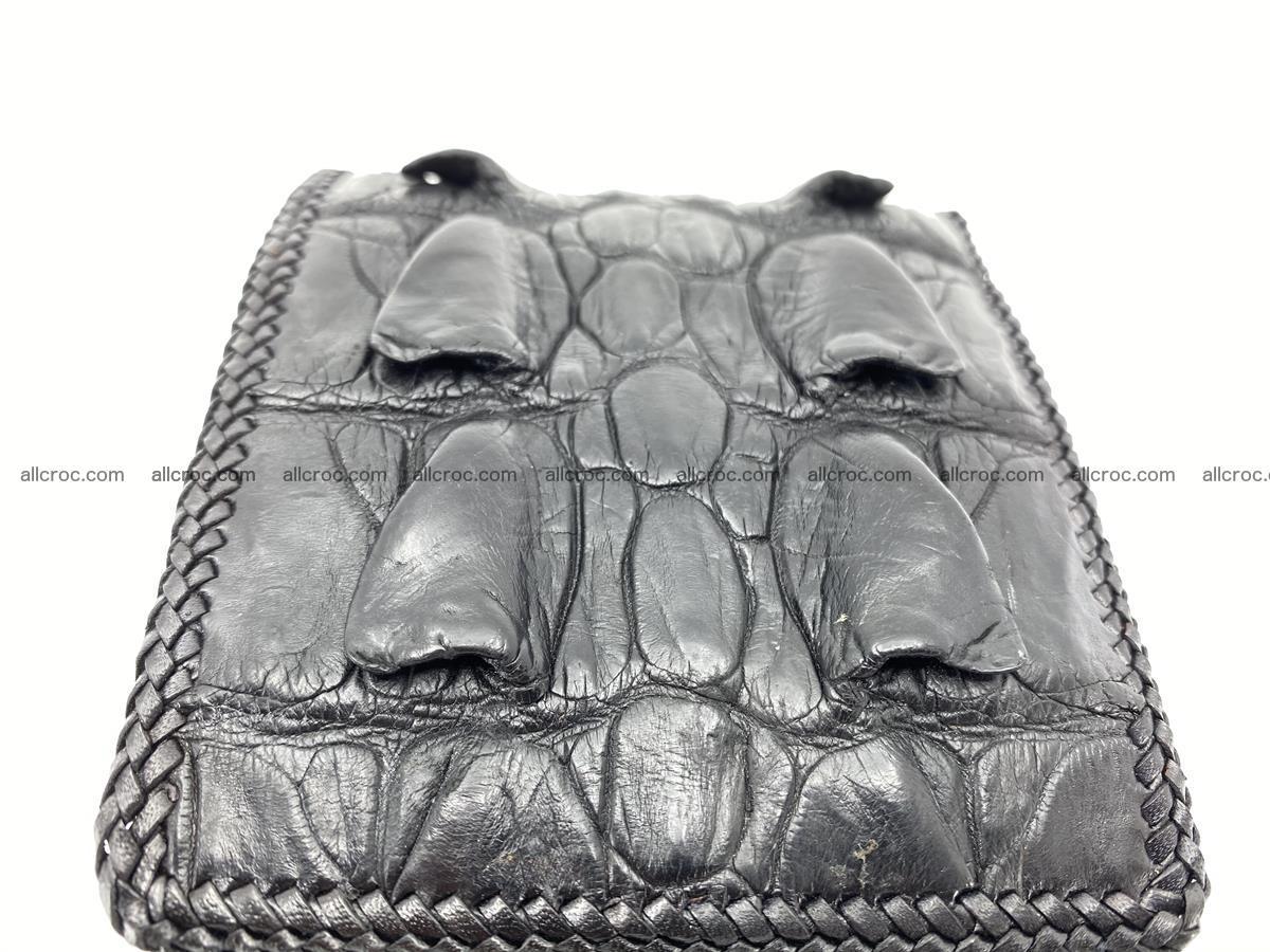 Crocodile skin bifold wallet tail part with braided trim 905 Foto 19