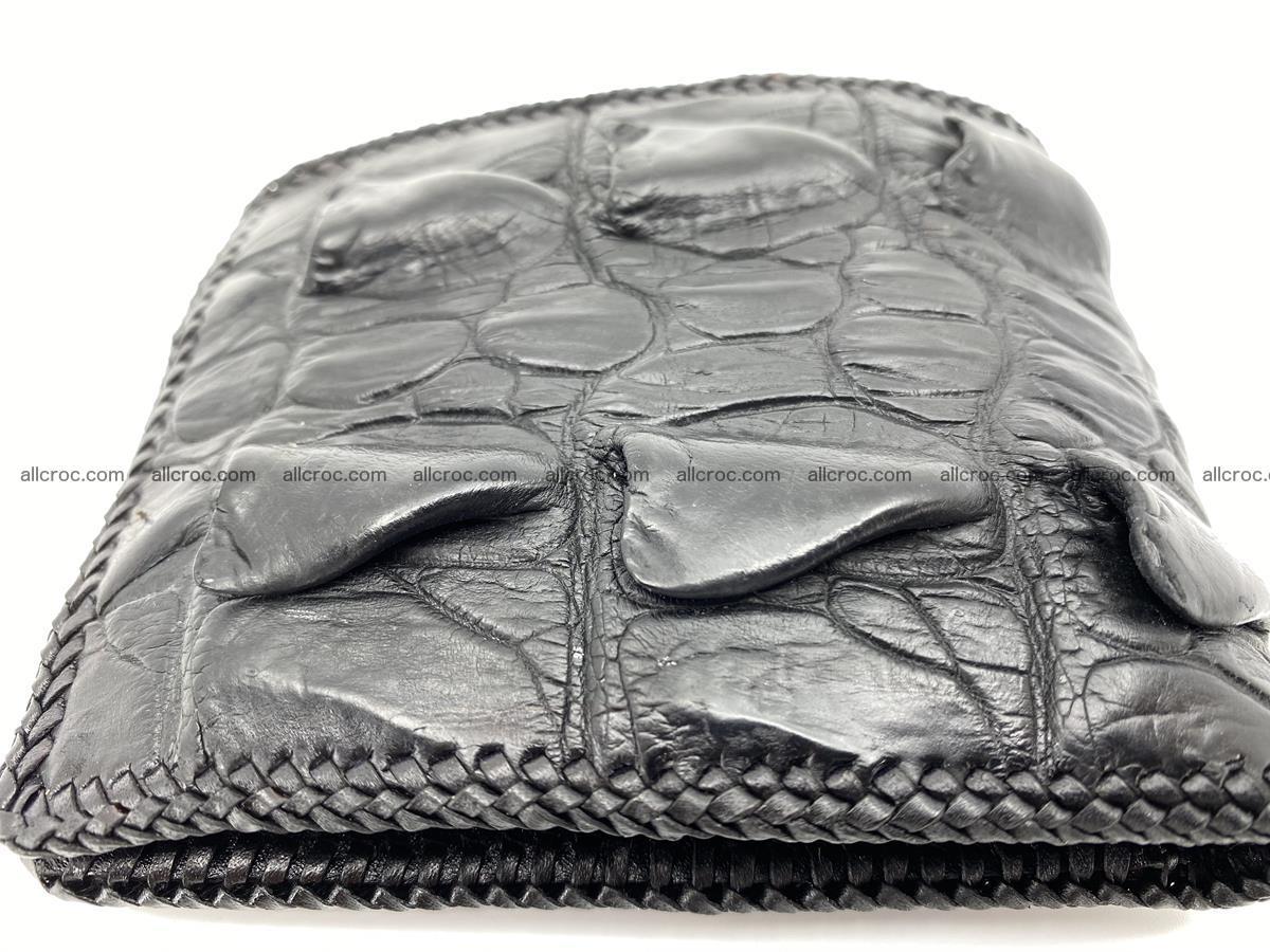 Crocodile skin bifold wallet tail part with braided trim 905 Foto 8