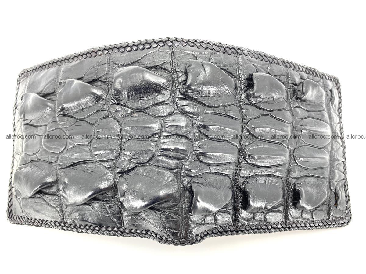 Crocodile skin bifold wallet tail part with braided trim 905 Foto 2