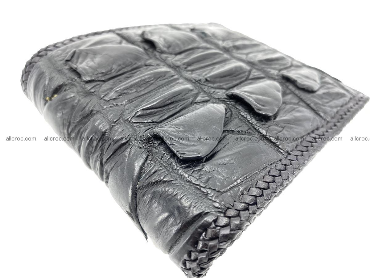 Crocodile skin bifold wallet tail part with braided trim 907 Foto 2
