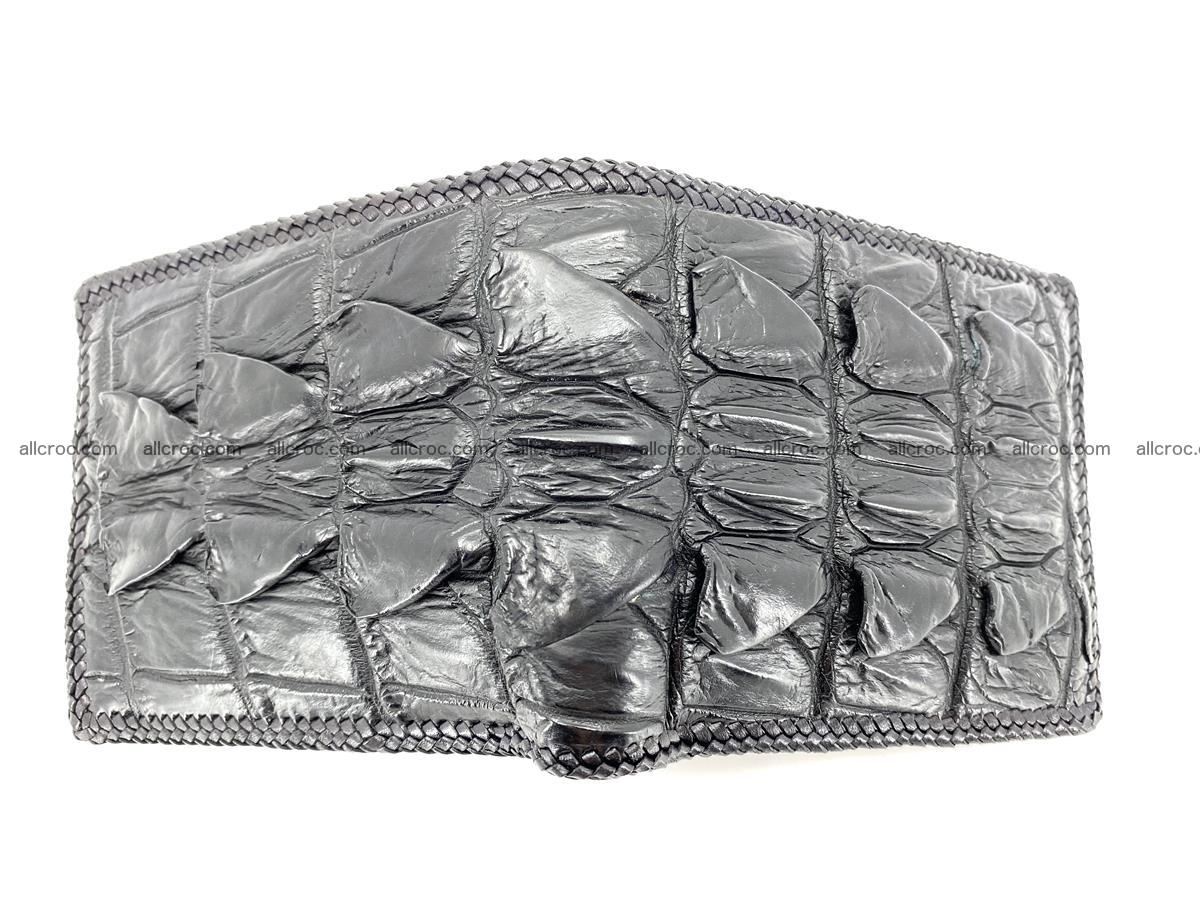 Crocodile skin bifold wallet tail part with braided trim 907 Foto 15
